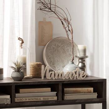 Plateau rond en bois avec motifs