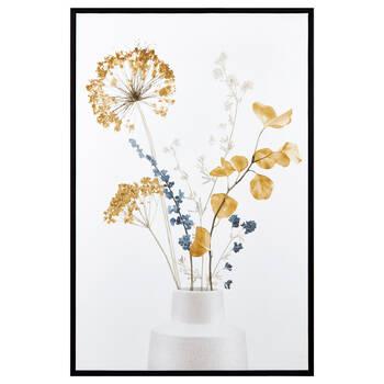 Blue & Yellow Bouquet Framed Canvas