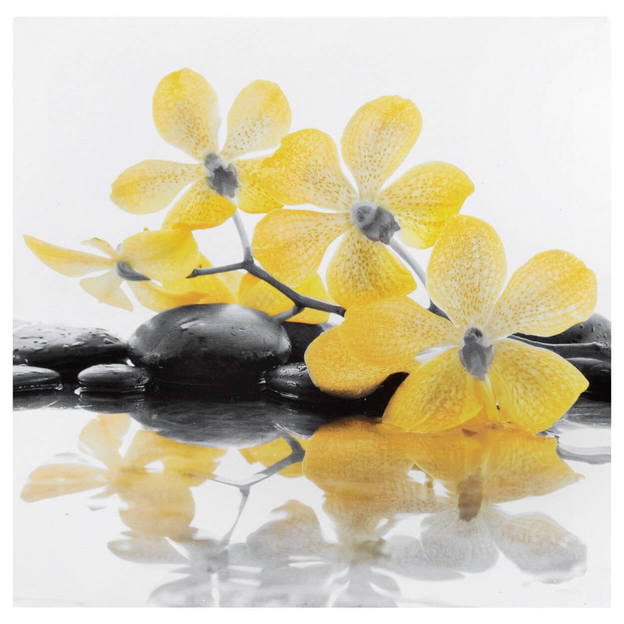 Tableau imprimé orchidées jaunes
