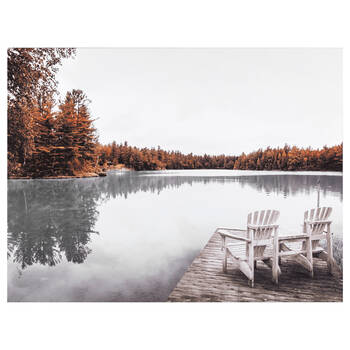 Dock on a Fall Day Printed Canvas