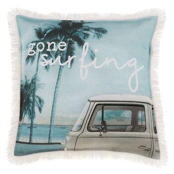 "Gone Surfing Decorative Pillow 18"" X 18"""