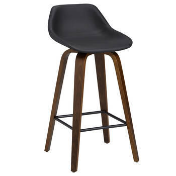Faux Leather and Walnut Wood Bar Stool