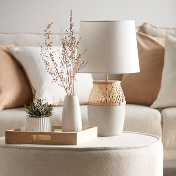 Lampe de table ciment et rotin