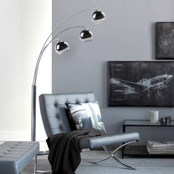 3-Head Chrome Floor Lamp