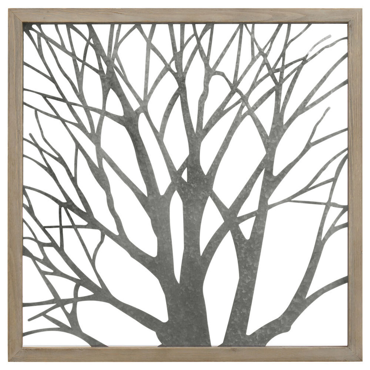 Galvanized Metal Tree Wall Art with Wood Frame