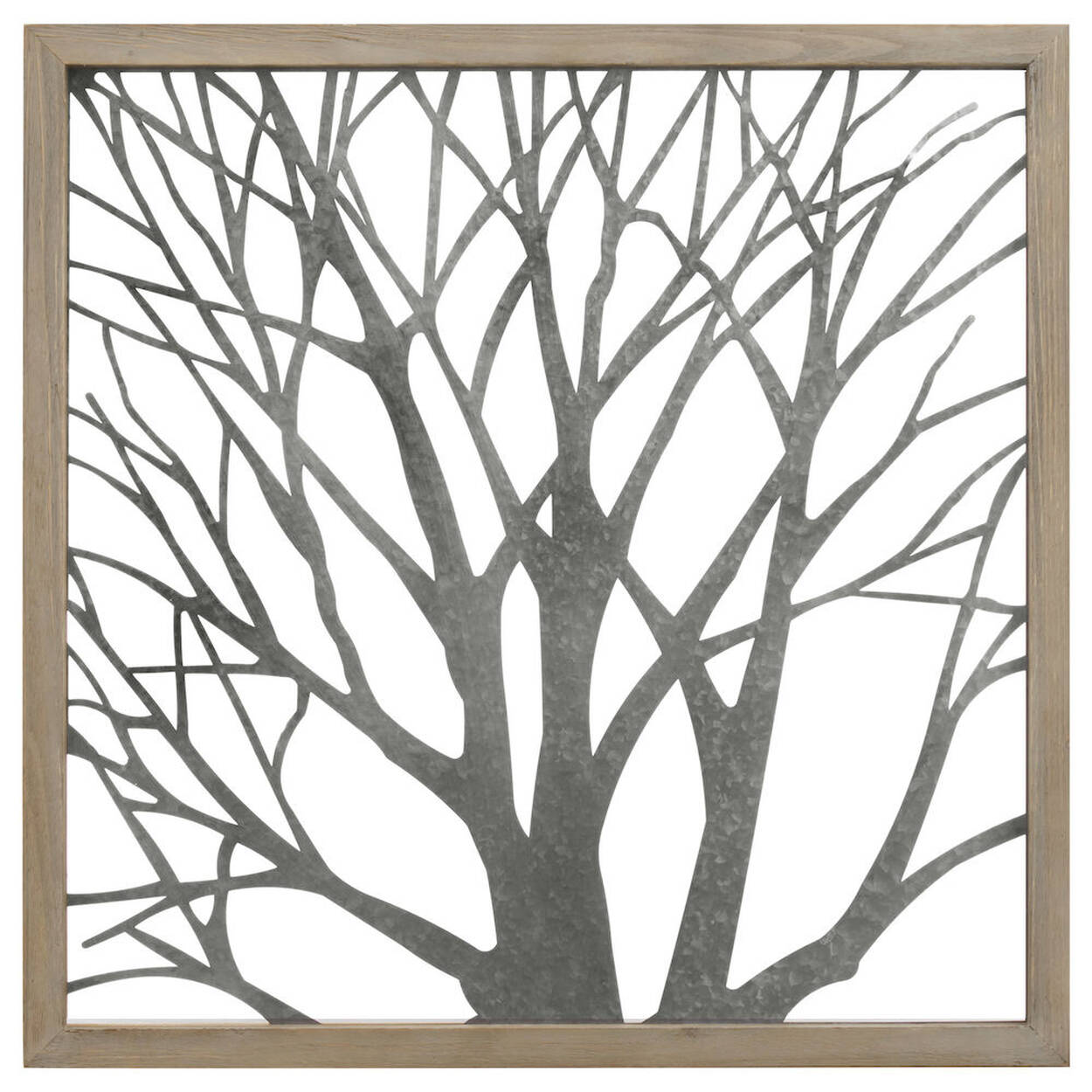 art mural arbre en m tal avec cadre en bois. Black Bedroom Furniture Sets. Home Design Ideas