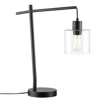 Lampe de table industrielle en métal et verre
