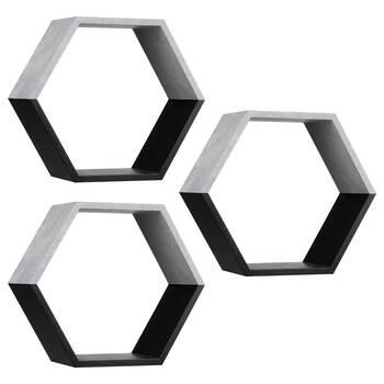 Ensemble de 3 étagères murales hexagonales
