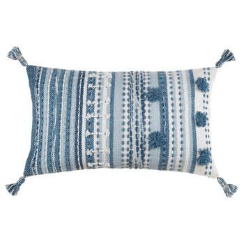 """Katina Decorative Blue Lumbar Pillow 13"""" x 22"""""""