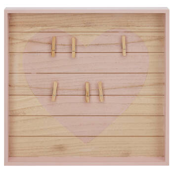 Wooden Memo Board with Clothespins