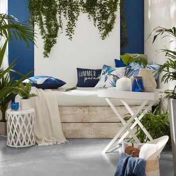 "Palm Water-Repellent Decorative Pillow 18"" X 18"""