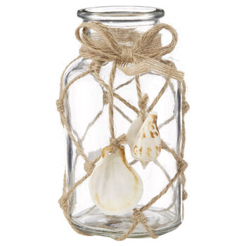 Glass Table Vase with Rope and Seashells