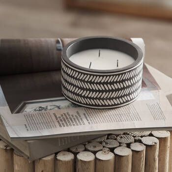 Black Tribal Cement Candle