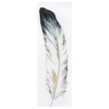 Feather Printed Canvas with Gel Embellishments