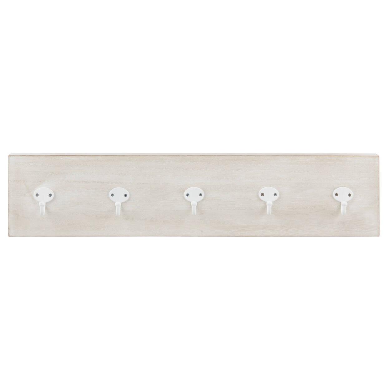 Ensemble de 5 crochets blancs sur plaque en bois