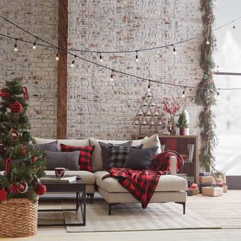 Wooden Plaid Reindeer Ornament