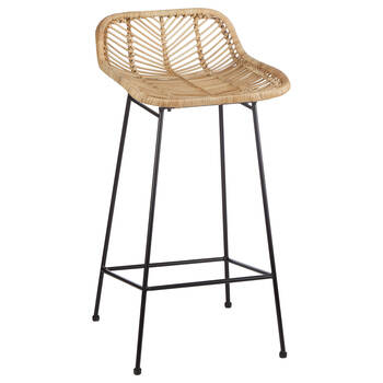Rattan and Metal Counter Stool