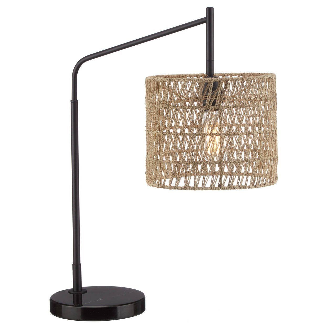 Table Lamp with Rattan Shade and Marble Base
