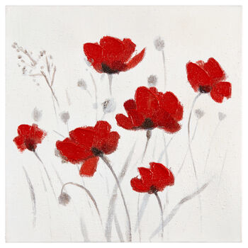 Red Floral Oil Painted Canvas II