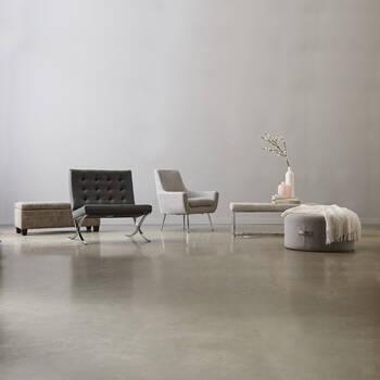 Chita Fabric and Chrome Bench
