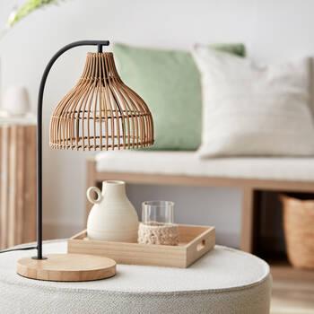 Lampe de table en rotin et bois