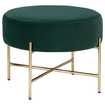 Velvet and Metal Ottoman