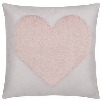 "Faux Fur Heart Decorative Pillow 18"" x 18"""
