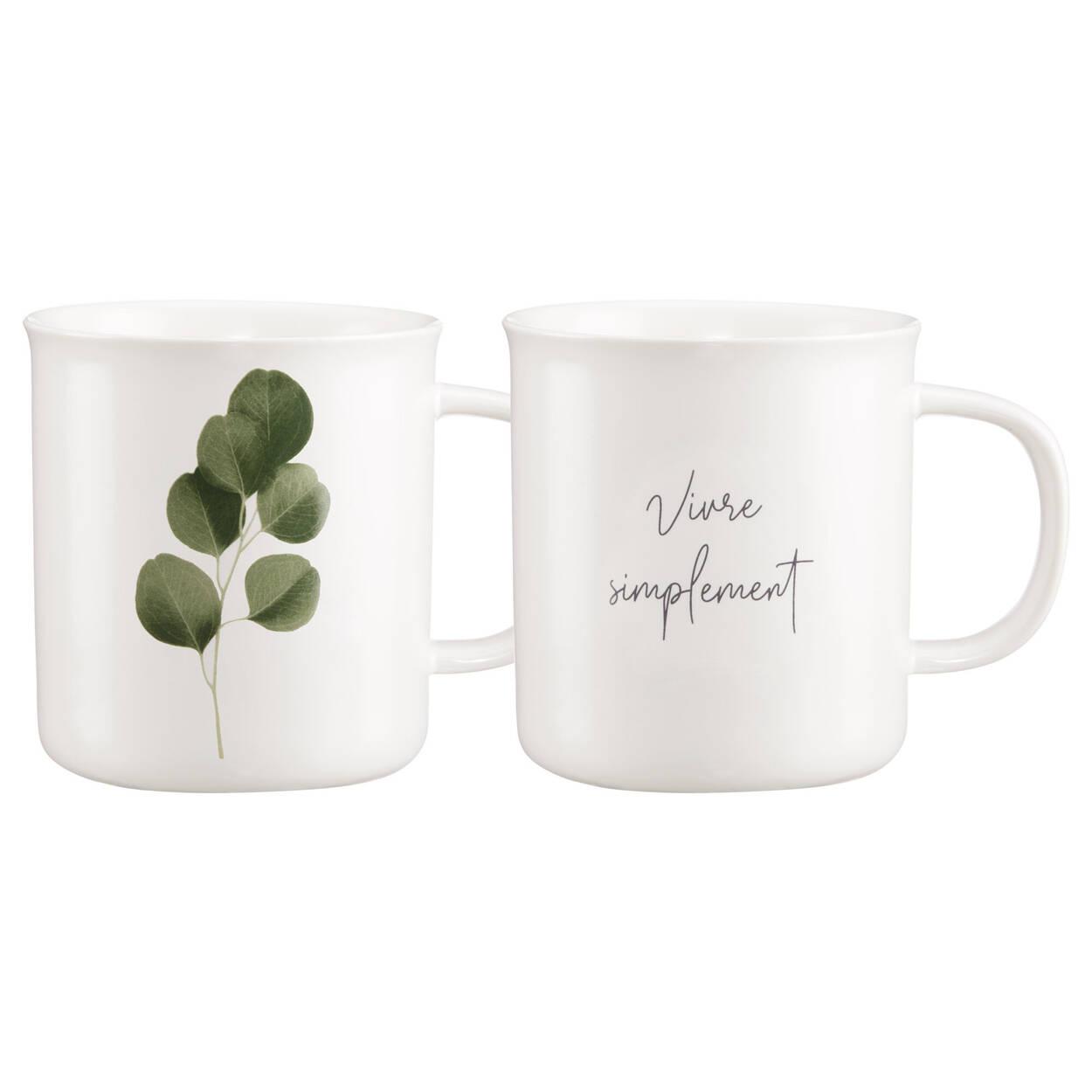Ensemble de 2 tasses eucalyptus et message anglais