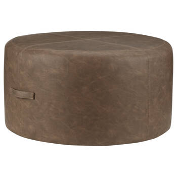 Round Faux Leather Ottoman with Handles