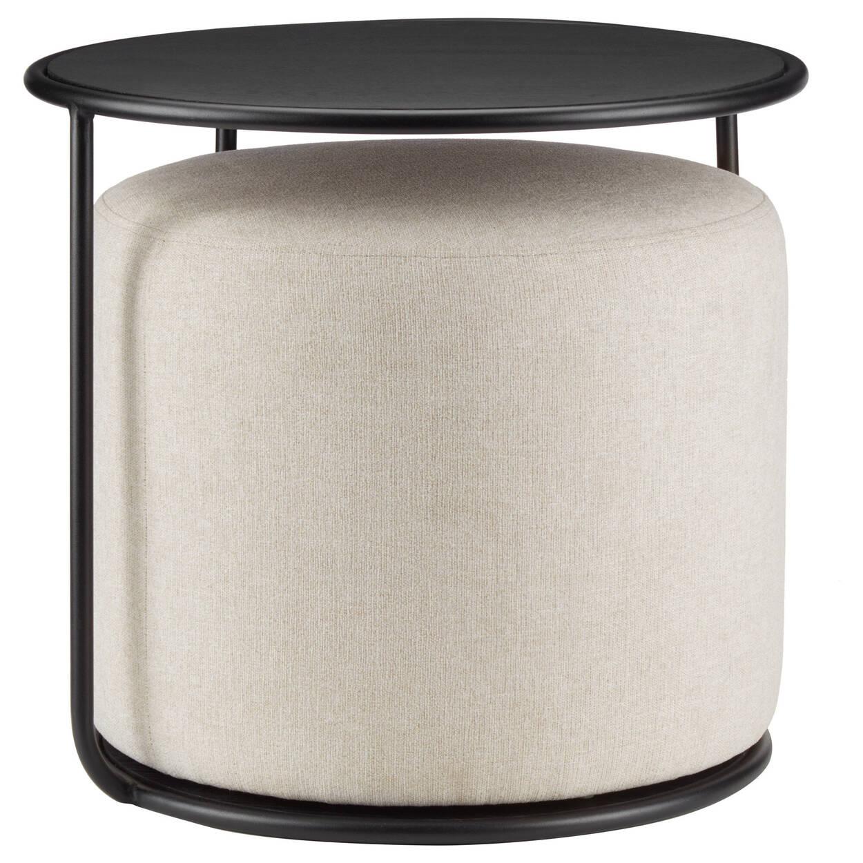 Table d'appoint noire avec pouf