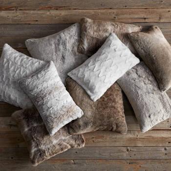 """Wolf Faux Fur Decorative Lumbar Pillow 14"""" X 22"""""""