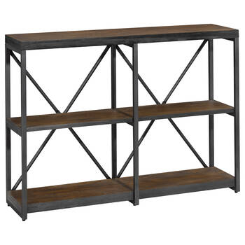 Three-Shelf Wood and Metal Console Table