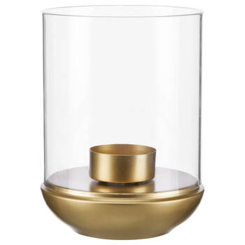 Gold Metal and Glass Candle Holder