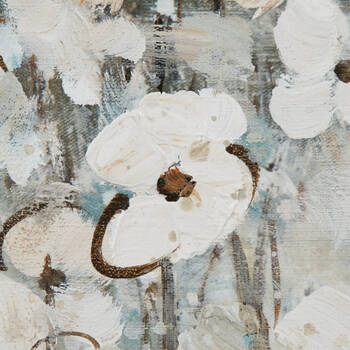 Oil-Painted Lakeside Flowers Canvas