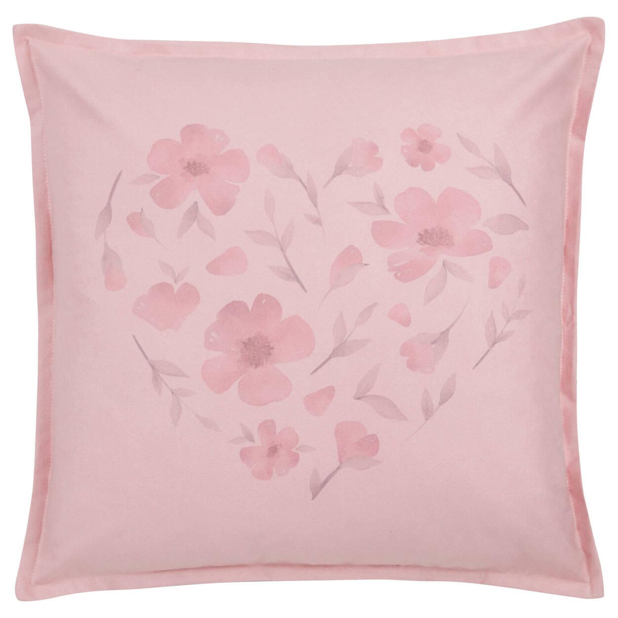 """Coussin décoratif fleurs en coeur 18"""" x 18"""""""