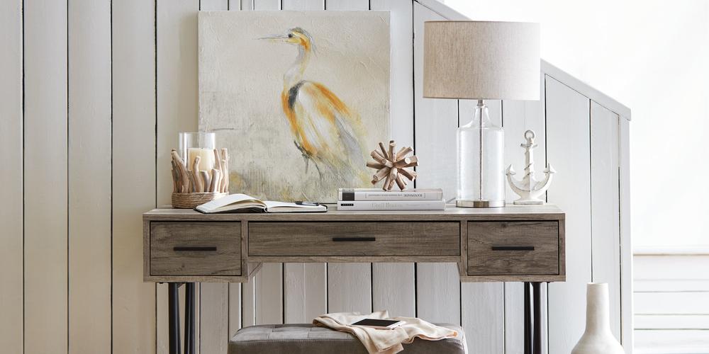 Porte-chandelle en bois flotté et en verre