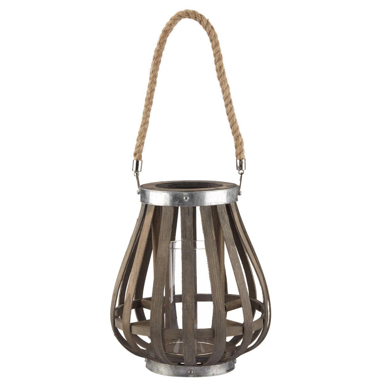Wood Lantern with Rope Handle