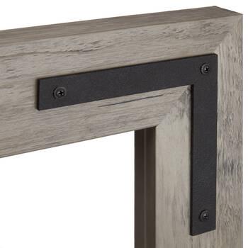 Miroir avec cadre en bois et métal