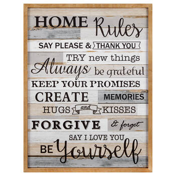 Home Rules Wood Wall Art