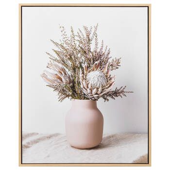 Pink Bouquet & Vase Framed Canvas