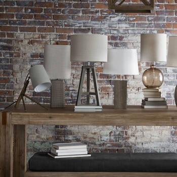 Lampe de table effet bois