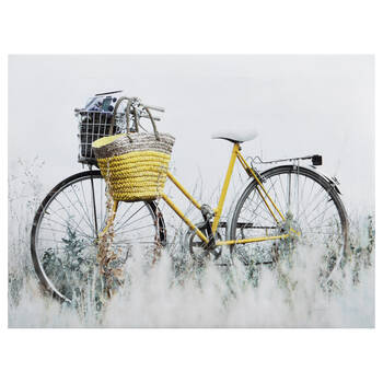 Yellow Bike Printed Canvas