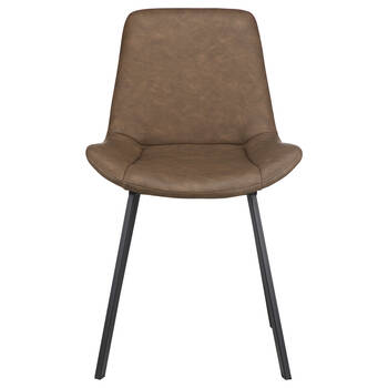 Textured Faux Leather and Iron Dining Chair