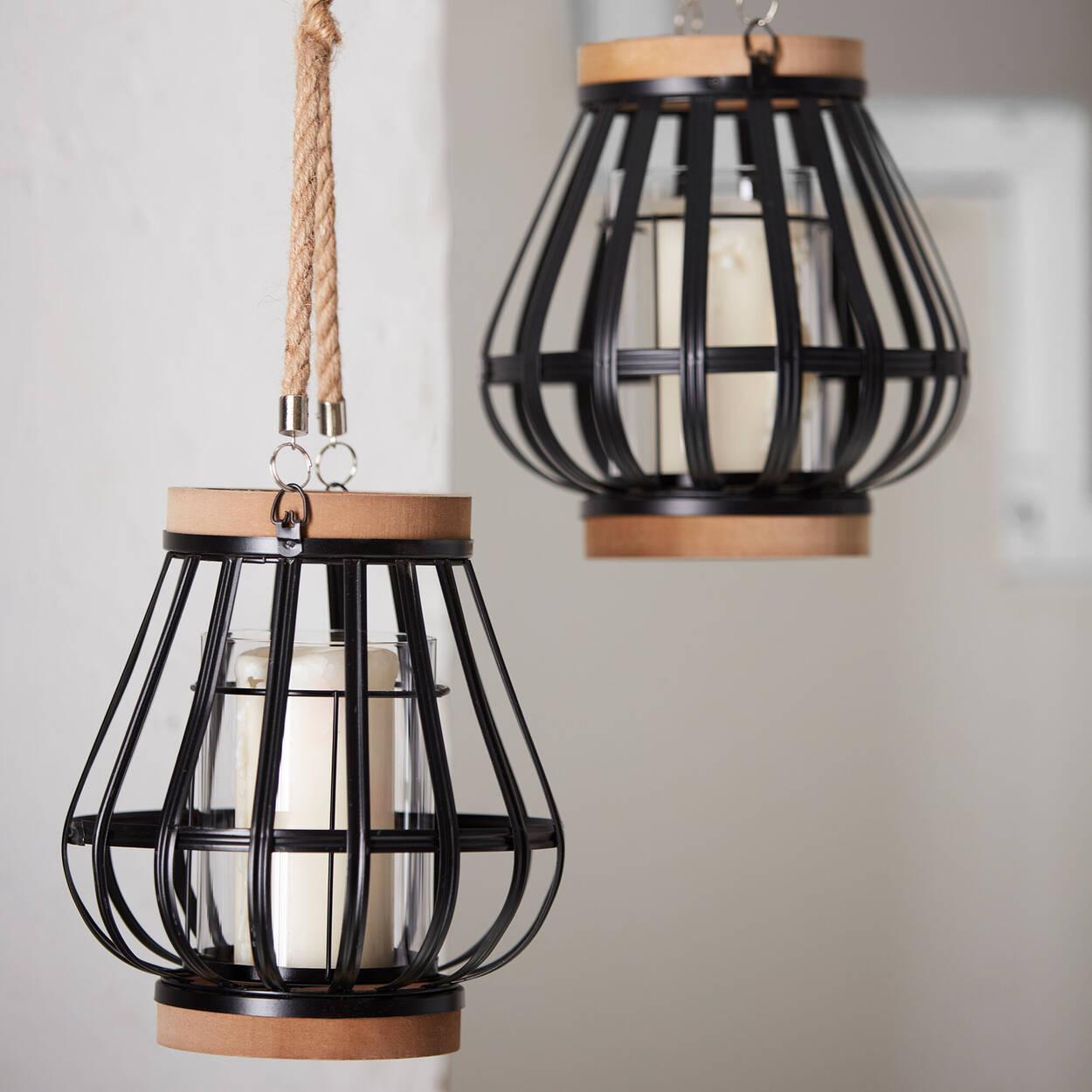 Wood-Like & Metal Lantern