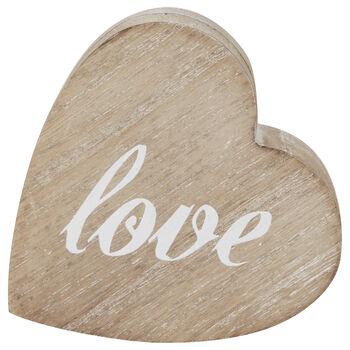 Porte-carte coeur en effet bois