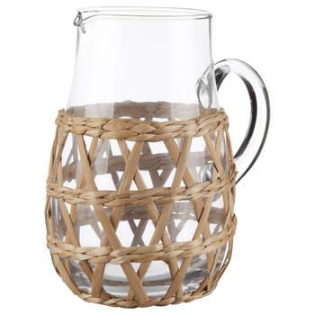 Pichet en verre avec raphia naturel