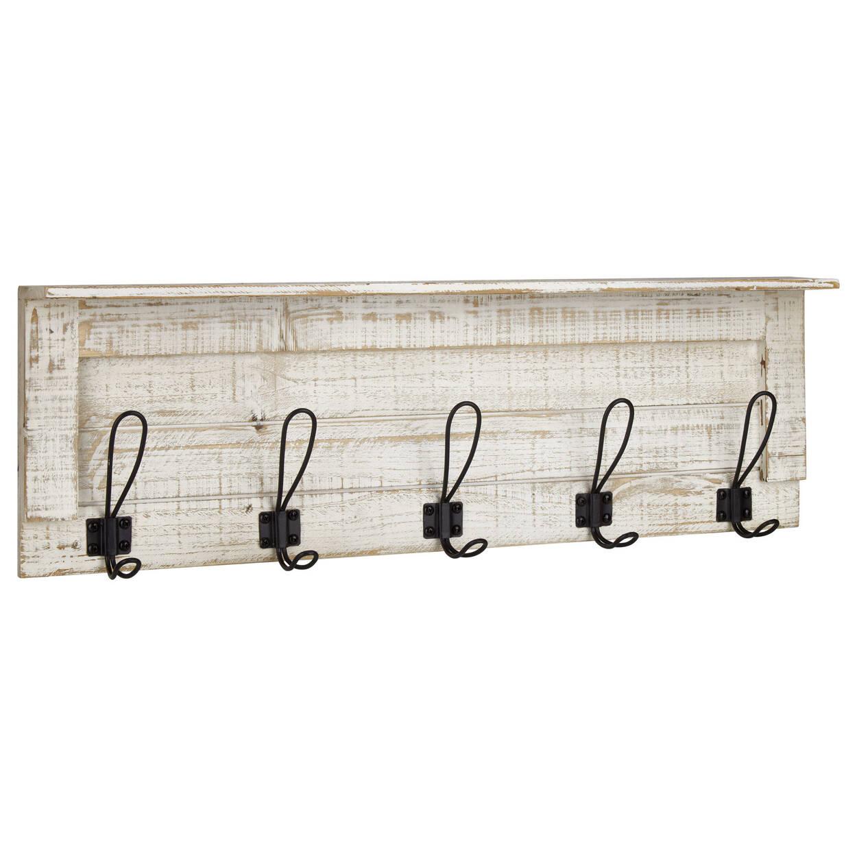 Set of 5 Hooks on Distressed Wood Plaque