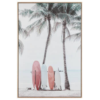 Pink Surfboard on Beach Printed Framed Art