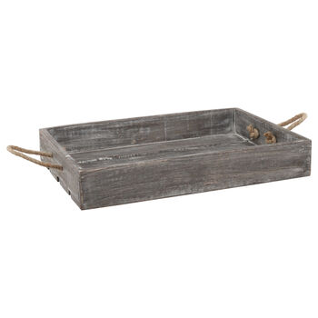 Wooden Tray with Rope Handles