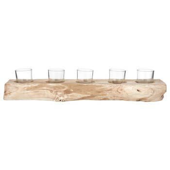 Glass and Wood Candle Holder